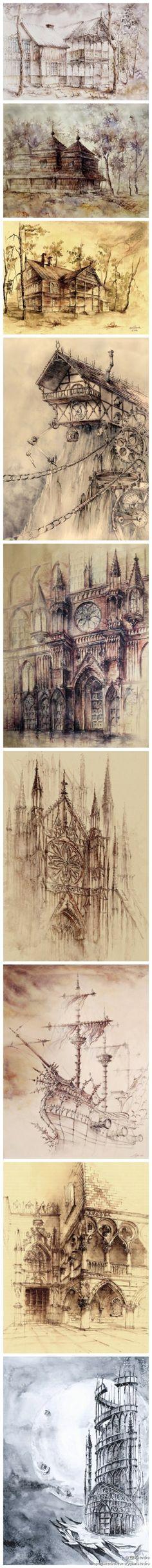 [] Architecture Aquarelle sur papier style rétro tours Wyatt, Elwira Pawlikowska.