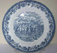 Collectors plate by Myotts, 'Country Life' blue and white, excellent condition