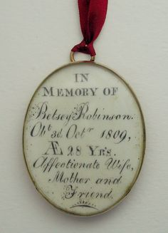Very interesting history given concerning Mourning Pendants