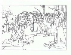 Seurat Art appreciation coloring pages - tape to shrinky dink page. color. punch holes two holes in one side for a book. Shrink. Make a book of famous art - colored by you.