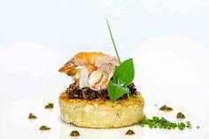 Blinis Concon, Sausage and Shrimp