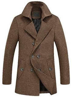 Youhan Men's Fitted Overcoat Cashmere Pea Coat at Amazon Men's Clothing store:
