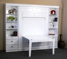 The Table Bed is a murphy bed with foldaway table. The Barrington Table Bed offers a beautiful transitional style that will add elegance to your home office or guest bedroom. It is a great solution if you need a working space, but don't have the room. Murphy Bed Desk, Murphy Bed Plans, Murphy Table, Office With Murphy Bed, Diy Murphy Bed, One Room Flat, Fold Up Beds, Modern Murphy Beds, Bed Table