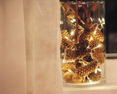 Lighted Glass Jar With Pine Cones