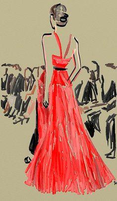 Jason Wu Runway Fall 2013, Jennifer Purcell ILLUSTRATION. red dress model runway