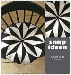 Rund grafisk pude   - stof2000.dk
