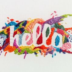 Rainbow embroidered HELLO typography by Fallon Hortstmann