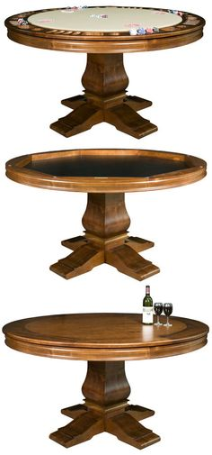 Poker Table / Card Table / Regular Table in one (with drink holders!) Game Room Bar, Game Room Basement, Game Rooms, Playroom, Chess Table, Dining Table, Bedroom Games, Basement Inspiration, Man Room