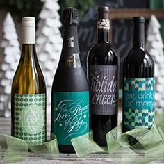 Holiday wine labels for you to download and print to decorate bottles for Christmas.