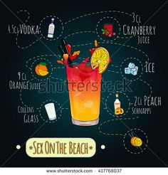 Stock popular alcoholic cocktail Sex on the beach with a detailed recipe and ingredients in a series of world best cocktails