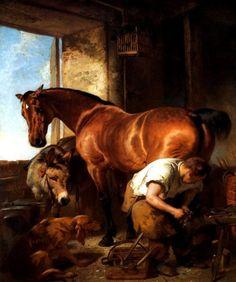 SHOEING BLACKSMITH HORSE MARE DONKEY DOG 1844 PAINTING BY SIR EDWIN LANDSEER REPRO ON CANVAS WONDERFULITEMS http://www.amazon.com/dp/B00JRFWN3G/ref=cm_sw_r_pi_dp_Zek5ub0B9WRT8