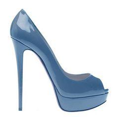 74e1d172cc02 Christian Louboutin Lady Peep 150 Simple Peep Toe Platforms Pumps Blue  Patent Leather Stilettos