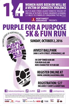 Statistically 1 in 4 women and 1 in 7 men will be a Victim of Domestic Violence in their lifetime.  Join the premiere kickoff event for Domestic Violence Awareness Month to take a stand for change.  Join us on October 2nd for the Second Annual Purple for a Purpose 5K Fun Run and Kids Character 1K  at Arvest Ballpark to help signify the struggle and bring Awareness and Prevention to our community.   Sing up for the race here: http://ift.tt/2cclXvK  Visit our webpage at http://ift.tt/1evvclH…