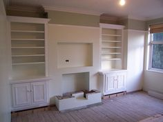 Neat AV install - lounge room refurb in a Victorian Terrace Victorian Terrace, Cupboards, Fireplaces, Lounge, Living Room, Furniture, Home Decor, Closets, Log Fires