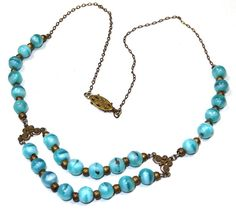 Vintage Czech Necklace Blue Cats Eye Glass Beads Multi Tiered Dainty Delicate Gold Chain Downton Abbey 1920s