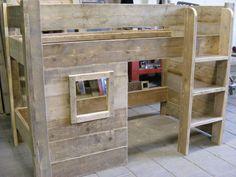 Halfhoogslaper speelhut- stapelbed steigerhout (1290300163SP) | Half - Hoogslapers | JORG`S Houten Meubelen
