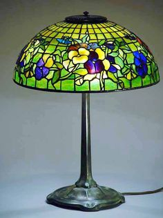 Pansy (on Gold) leaded glass and bronze Tiffany Lamp & Stick base Chandelier Pendant Lights, Lamp, Modern Table Lamp, Glass, Art Deco Lamps, Ceiling Lamp, Tiffany Lamps, Totally Tiffany, Tiffany Ceiling Lights
