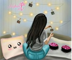 My fav things to do 😁 Cute Girl Drawing, Cartoon Girl Drawing, Girl Cartoon, Girly M, Girly Images, Girly Pictures, Sarra Art, Cute Baby Videos, Mother Art