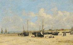 """""""Bateaux De La Plage de Berck"""" (Pas-de-Calais), 1877, Eugène Boudin (1824-1898). Huile sur toile. Reims, Musée des beaux-arts de la ville."""
