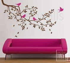 Branch Wall Decal Branch and Birds Wall Decal Sticker - GIFT BIRDS - Tree Wall Decal Children Nursery Baby Room Art Design Room Decor. $49.00, via Etsy.