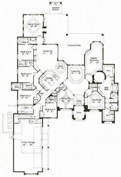 House Plan 64725 - Florida, Mediterranean Style House Plan with 4990 Sq Ft, 5 Bed, 6 Bath, 4 Car Garage Hawaii Homes, Metal Homes, Mediterranean Style, Home Look, Car Garage, Game Room, Home Interior Design, House Plans, Floor Plans