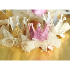 Glitter Crown Party Clips - Perfect for a princess party themes and bachelorette parties.