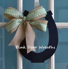 Door hanger Kentucky DERBY HORSEHOE navy and by PinkDoorWreaths, $18.00