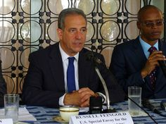 Russ Feingold (center), U.S. special envoy for the Great Lakes and the Democratic Republic of the Congo, gives a press conference in Kinshasa...