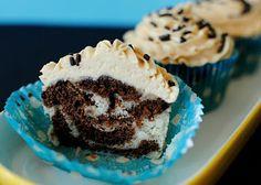 Banana-Chocolate Zebra Cupcakes w/ Peanut Butter Frosting