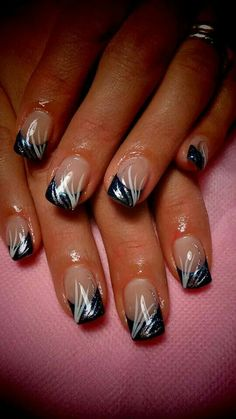 Wedding Nails-A Guide To The Perfect Manicure – NaiLovely Silver Nail Designs, French Tip Nail Designs, Fingernail Designs, French Nail Art, French Tip Nails, Toe Nail Designs, Acrylic Nail Designs, Nail Polish Designs, Fancy Nails