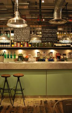 Bill's | Cambridge | kitchen inspiration + pendant lights + stools + chalk board + industrial