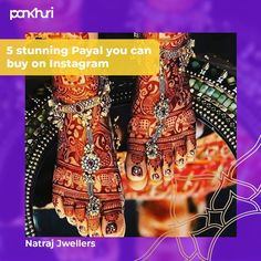 Payal is one of the essential SOLAH SHRINGHAR that a married woman adorns with love. Not just that, being a bride is incomplete without adding #payal to the bridal ensemble. We have rounded up five cutest Payal designs that will rock your wedding pictures. . . Use #pankhuribride to get featured. . . Shop them at: @natraj_jewellers_ @silver_jewellery_nakodapayals @shubhamsilver @natraj_jewellers_ @jewelsyoudesire . .  #askpankhuri #bridalstylist #anklet #ankletlove #ankletbracelet… South Indian Jewellery, Silver Jewellery, Bridal Accessories, Bridal Jewelry, Silver Payal, Anklet Bracelet, Married Woman, Wedding Pictures, Stylists