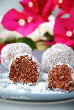 Σοκολατένιες μεθυσμένες μπαλίτσες με ινδοκάρυδο και στέβια! Συνταγές για διαβητικούς Sofeto Γεύσεις Υγείας.