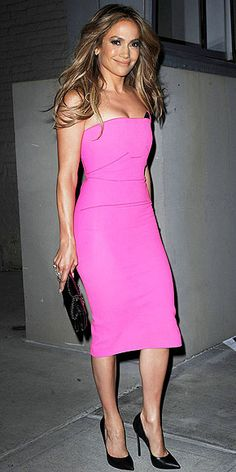 JENNIFER LOPEZ  in a Roland Mouret form-fitting strapless midi in hot pink while at the Beats Music Sip and Stream with Jennifer Lopez event in N.Y.C.