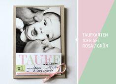10er DIY-Set TAUFE Einladung flieder/grün