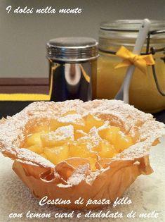Cestini di pasta fillo con lemon curd e dadolata di mele
