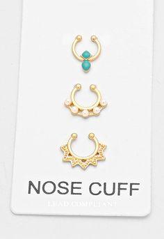 3 pc Gold Crystal Turquoise Fake Septum Piercing Set, Faux Nose Ring - Dempsey & Gazelle  - 1