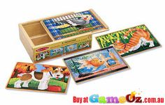 Melissa+and+Doug+4+x+12+pc+Wooden+Jigsaw+Puzzles+In+A+Box+Pets  Pieces:+4+x+12+pc+puzzles  Encouraging+fine+motor+skills+and+hand-eye+coordination.  Material+:+Wood  Brand:+Melissa+&+Doug  Ages+3+