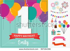 Happy Birthday greeting card with party elements