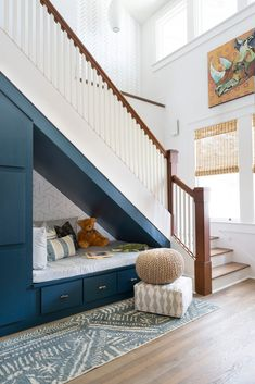 cute built-in under the stairs