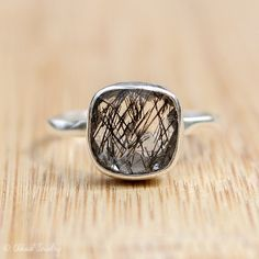 Silver Black Rutile Quartz Ring  Tourmalinated Quartz by OhKuol, $62.00