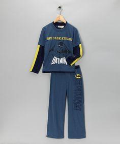 Look at this Blue Layered 'The Dark Knight' Pajama Set - Toddler