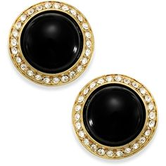 Carolee Gold-Tone Black Button Earrings (92 MAD) ❤ liked on Polyvore featuring jewelry, earrings, accessories, no color, art deco earrings, art deco jewelry, button earrings, carolee earrings and gold tone jewelry