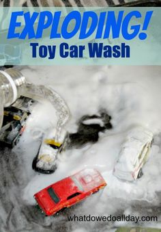 Keep your kids busy with a fizzy-sizzy toy car wash - an indoor or outdoor activity from whatdowedoallday.com
