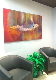 Office Lobby, Painting By Soraya Silvestri. Ottawa Artist, Canadian Artist, Abstract  Painter.