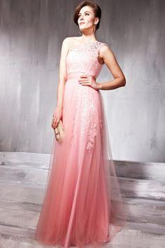 Crystal-Adorned Watermelon A-Line One-shoulder 2015 Prom Evening Dress