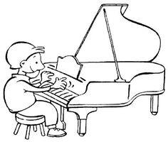 niño tocando piano para colorear - Buscar con Google