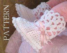 Crochet Pattern 029 Booties Crochet Pattern por AlenasDesign