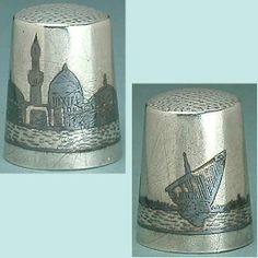 "Antique ""Marsh Arab"" Niello Silver Thimble w Sailboat Circa 1915 18 | eBay"