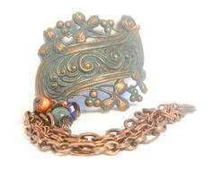 Victorian scroll bracelet cuff - American made brass - miracle bead - semi precious stones - antiqued copper - Swellegant dye oxide & patina by FireskyeDesigns on Etsy